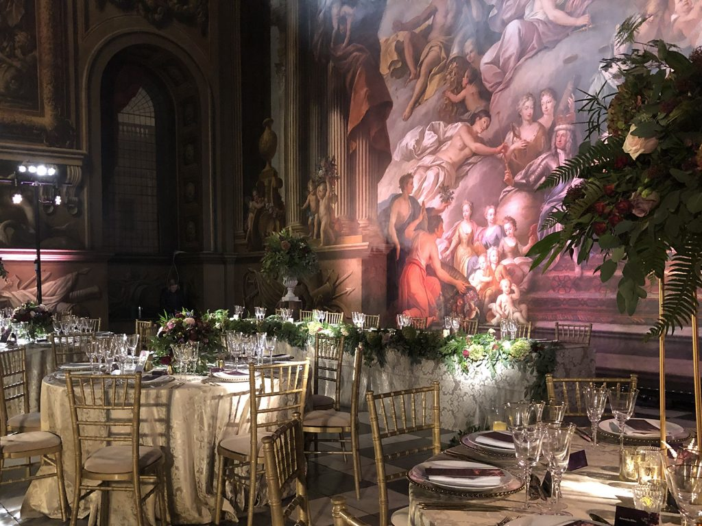Old Royal Naval College Painted Hall guest tables with backdrop